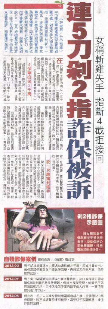 20130515[蘋果日報]連5刀剁2指 詐保被訴--女稱斬雞失手 指斷4截拒接回