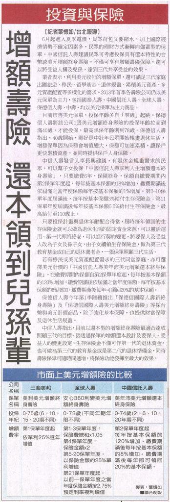 20130528[聯合晚報]增額壽險 還本領到兒孫輩