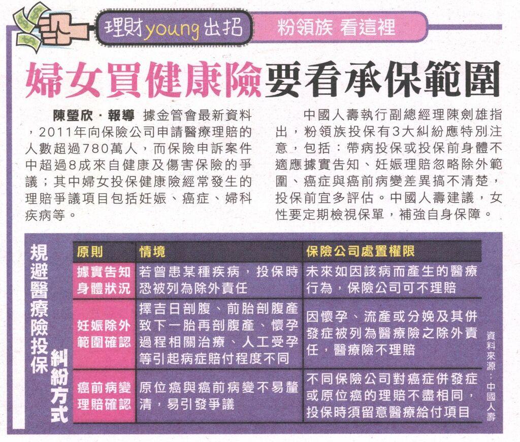 20130604[爽報]婦女買健康險要看承保範圍