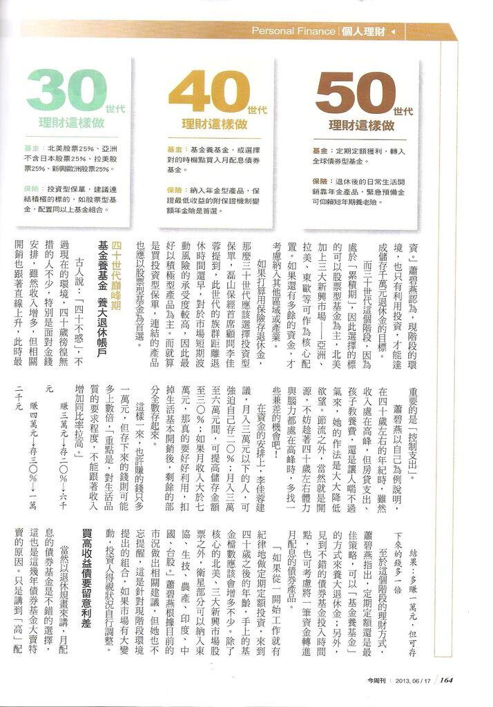 2013[今周刊No.860]三十、四十、五十歲的搶救老後大作戰p.164