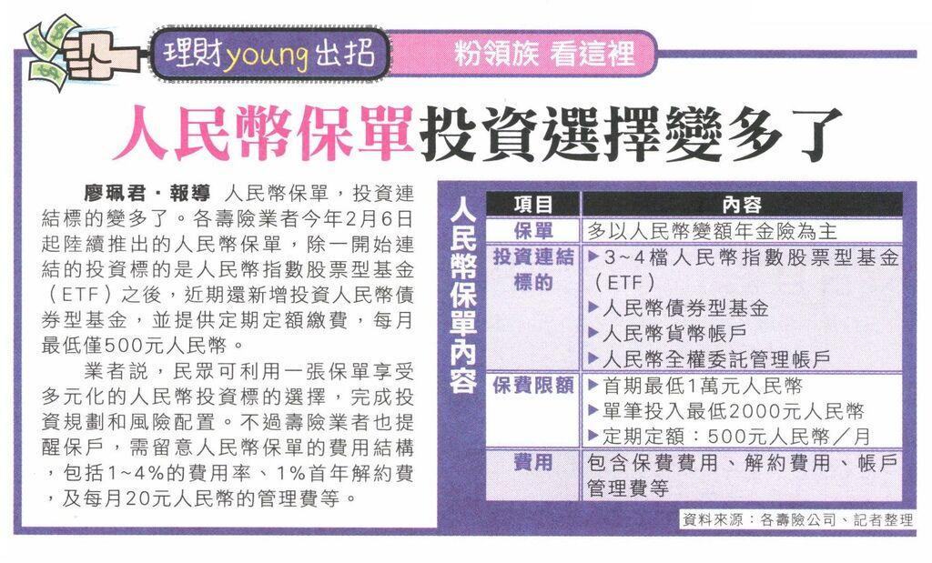 20130625[爽報]人民幣保單投資選擇變多了--理財young出招 粉領族 看這裡