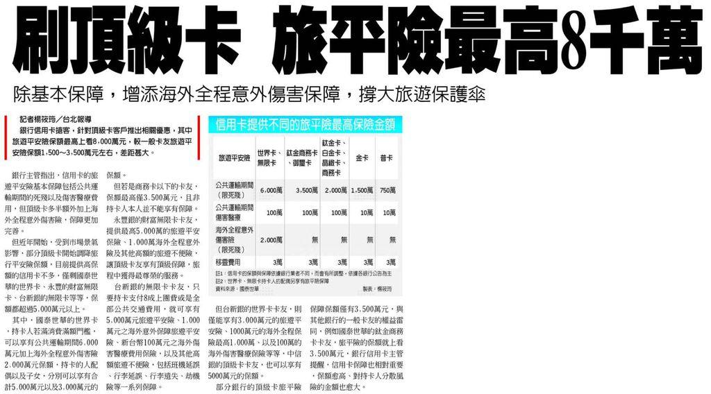 20130818[工商時報]刷頂級卡 旅平險最高8千萬--除基本保障,增添海外全程意外傷害保障,撐大旅遊保護傘