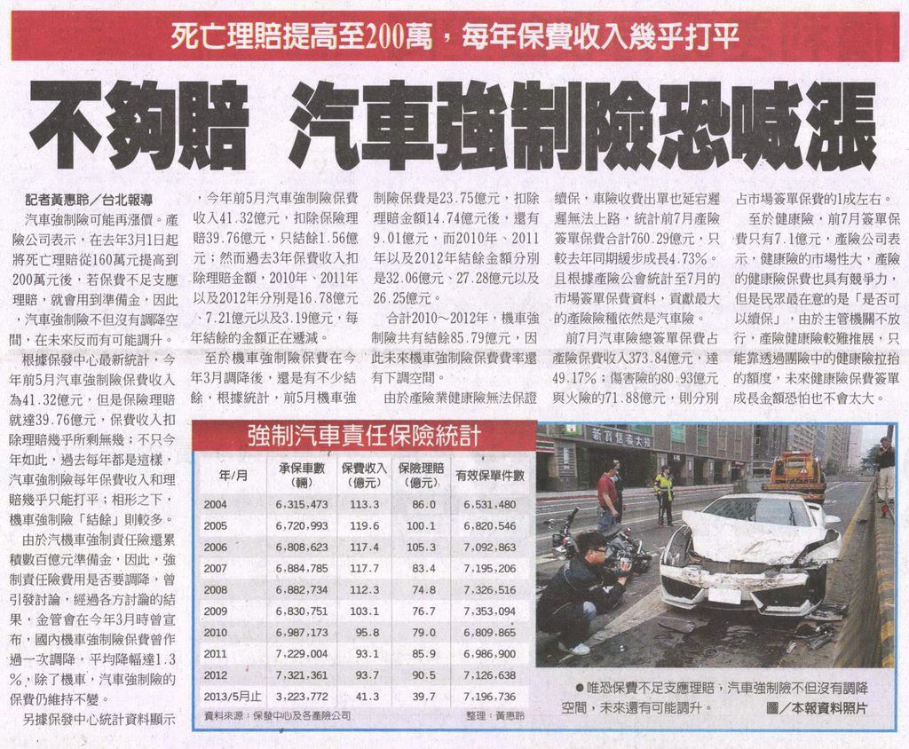 20130820[工商時報]不夠賠 汽車強制險恐喊漲--死亡理賠提高至200萬,每年保費收入幾乎打平