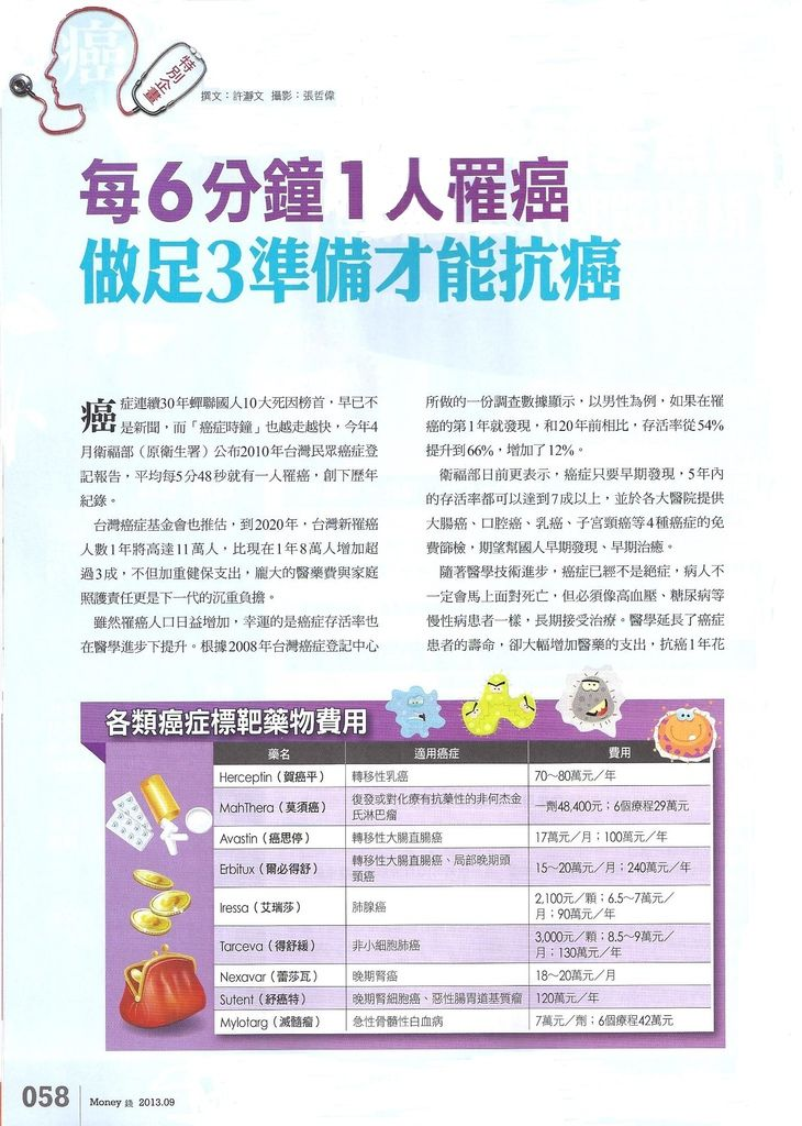 201309[Money錢]每6分鐘1人罹癌 做足3準備才能抗癌P.58