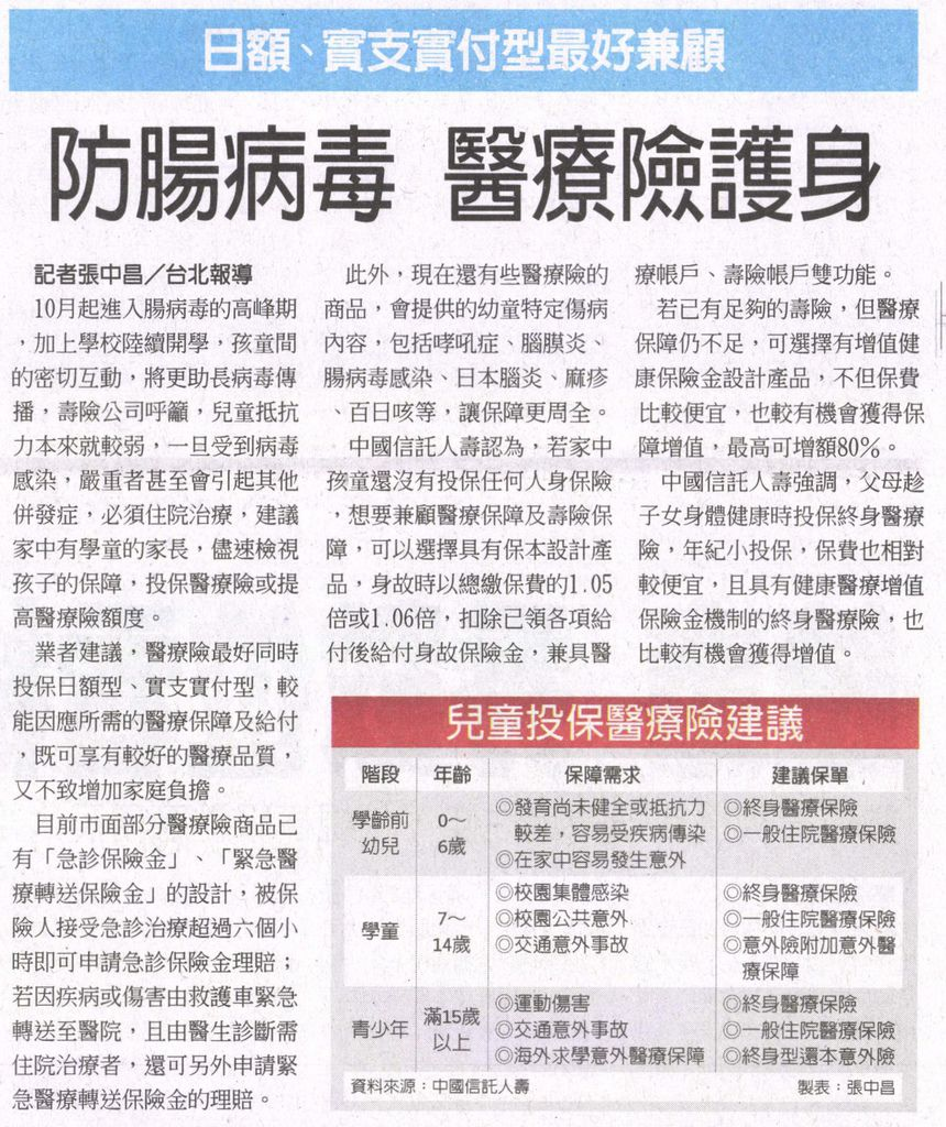20130924[工商時報]防腸病毒 醫療險護身--日額、實支實付型最好兼顧