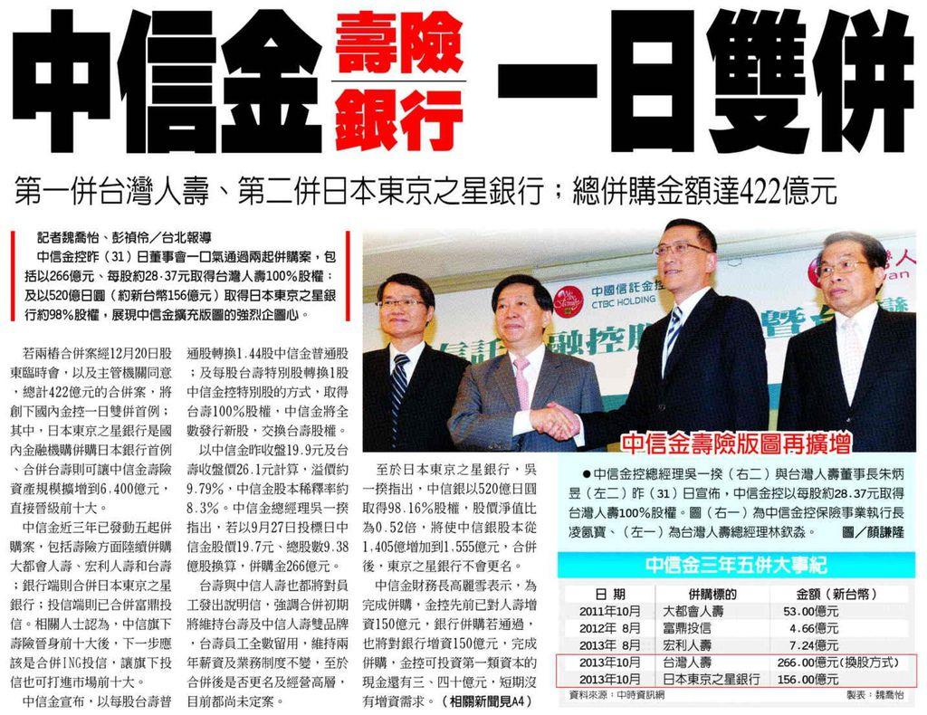 20131101[工商時報]中信金壽險銀行 一日雙併--第一併台灣人壽、第二併日本東京之星銀行;總併購金額達422億元