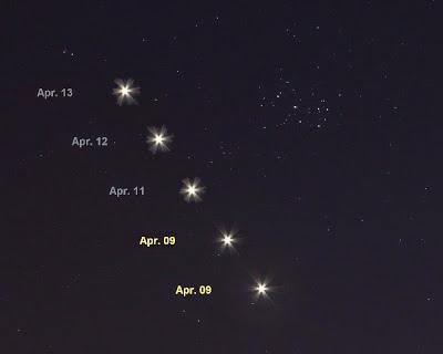 上面的星點是昴宿星團,下面的亮星就是金星.jpg