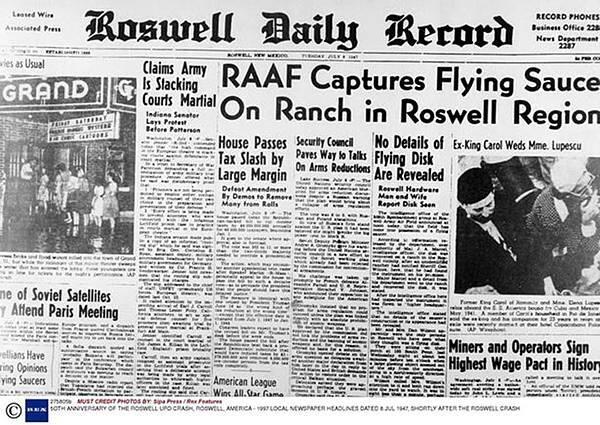 羅斯威爾每日紀事報報導發現飛碟的新聞.jpg
