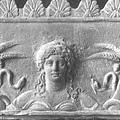 狄蜜特,希臘神話中的豐收女神,雙手握有小麥作物和蛇.jpg