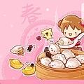 2013年02月-桌布-過年吃元寶-1280-800