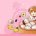 2013年02月-桌布-過年吃元寶-1920-1080