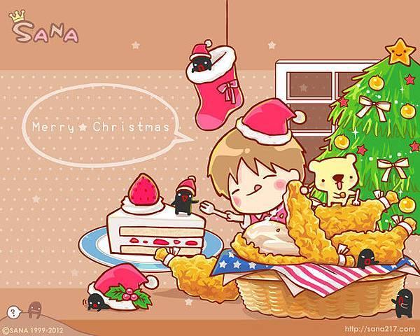 2012年12月-桌布-聖誕炸雞餐-1280-1024