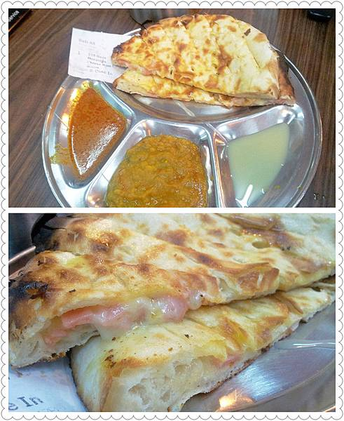 Naan Mozzarella Cheese Ham Bacon