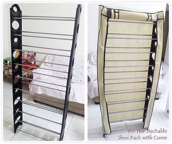 10-Tier Stackable Shoe Rack with Cover 1