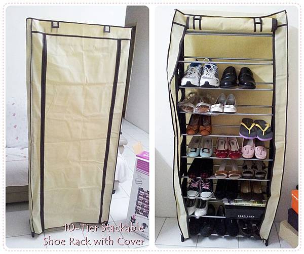 10-Tier Stackable Shoe Rack with Cover 2