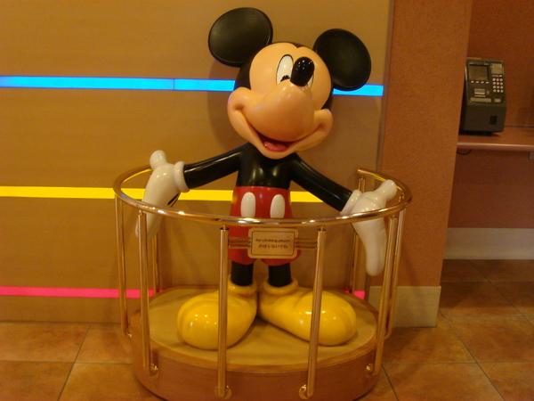 Mickey in hotel lobby