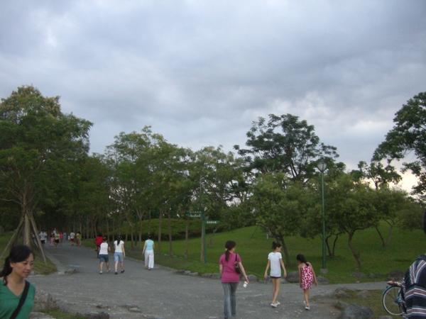 公園內有很多散步的人