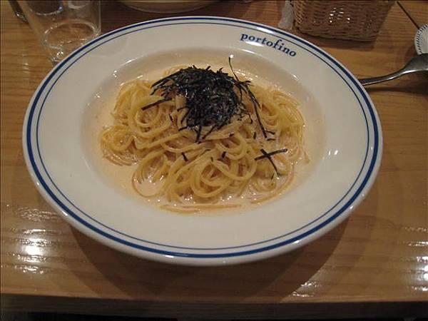 晚餐的明太子義大利麵