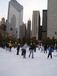 Millenium Park滑冰的人們