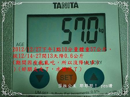 從12/14~27間13天降0.6公斤,體脂率降1%