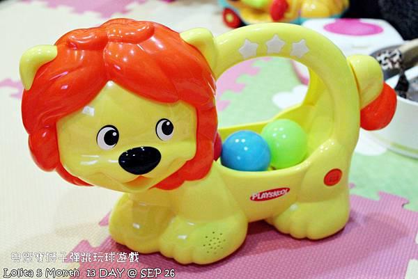 {好康部落試用}葡萄的第一樣互動玩具,兒樂寶獅子彈跳玩球遊戲組 (108)