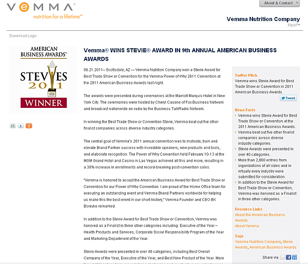 VemmaR WINS STEVIER AWARD IN 9th ANNUAL AMERICAN BUSINESS AWARDS   Vemma Nutrition Company   pitchengine.com