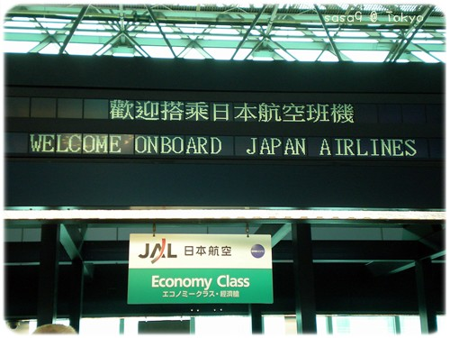 搭乘JAL前往日本東京成田機場