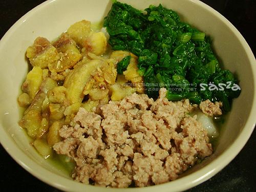 茼蒿豬肉韓國栗子飯