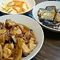 lunch醋燒雞、秋刀魚、筊白筍、牛蒡玉米湯