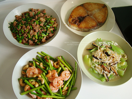 腰果蘆筍蝦仁、蒼蠅頭、干貝芥菜、土魠魚