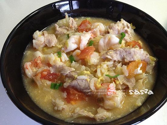 番茄甘藍海陸粥(蝦高湯)