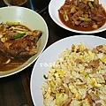 dinner鳳梨咖哩炒飯、紅燒魚、鼓汁蒜味燒肉、豆腐味增湯