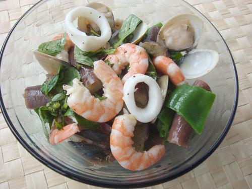 香檸茄子海鮮沙拉