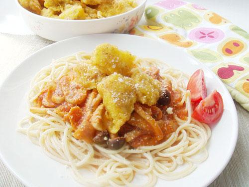茄醬菇菇雞義大利麵
