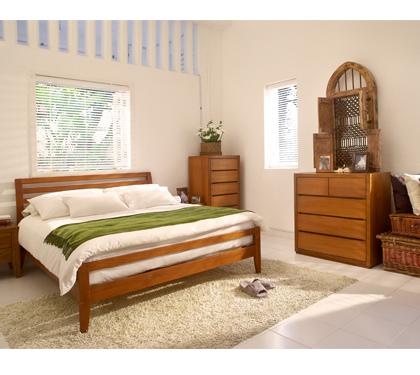 詩肯柚木家具床架
