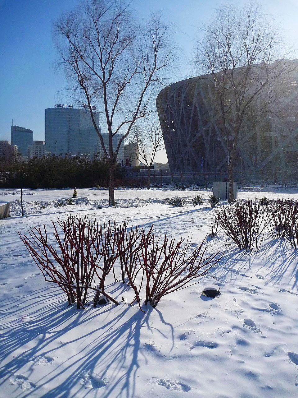 北京也下雪了?這是鳥巢冰雪節的人造雪