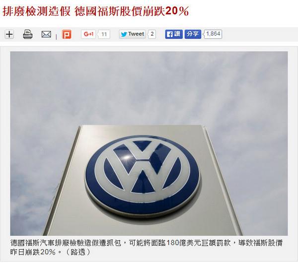 排廢檢測造假 德國福斯股價崩跌20%
