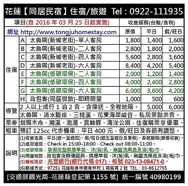 2016年03月25日價格表-兆豐銀行