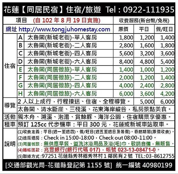 2016年09月6日價格表-兆豐銀行