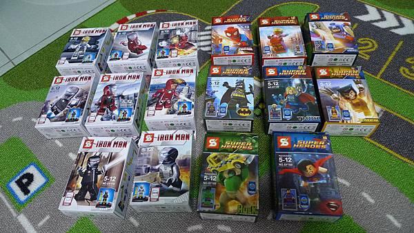 SY179 鋼鐵人系列、SY180 蜘蛛人、金鋼狼、美國隊長...等