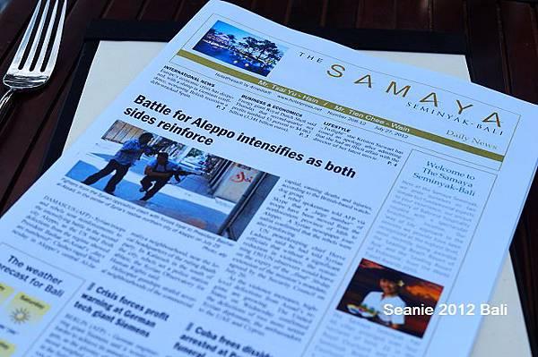 67THE SAMAYA每天都會準備一份印有你名字的報紙,很假掰可是很窩心