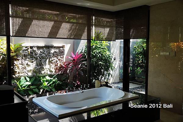 163胖子最愛的大大大浴缸,後方是直通泳池的戶外淋浴區