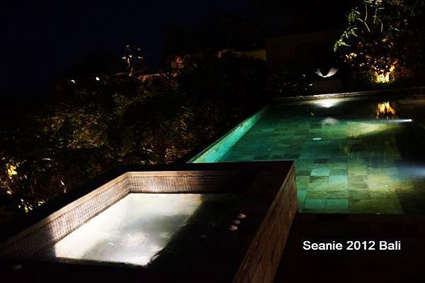 186在星夜下游泳泡按摩池