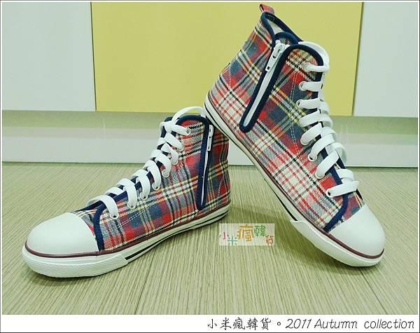 格紋高筒帆布鞋 (粉/藍) 16-23cm $890