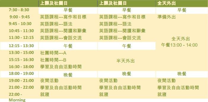 課程時刻表