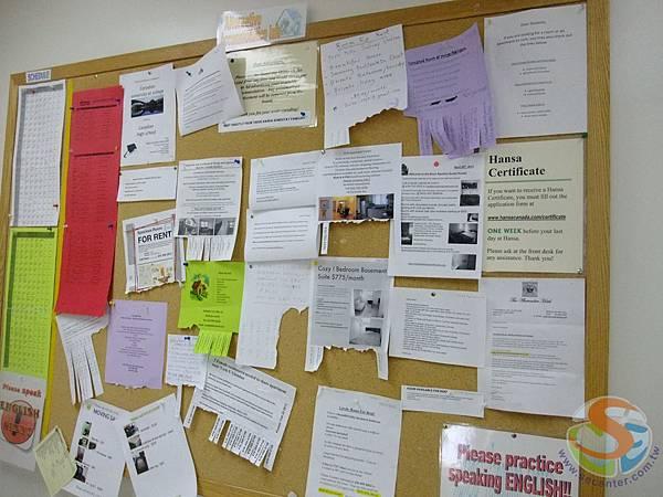公佈欄會提供很多租屋等生活資訊