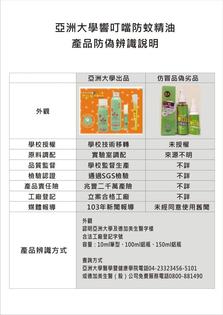 亞洲大學響叮噹防偽辨識表
