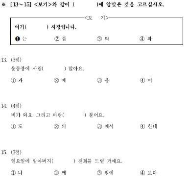 TOPIK初級檢定試題構成13-15