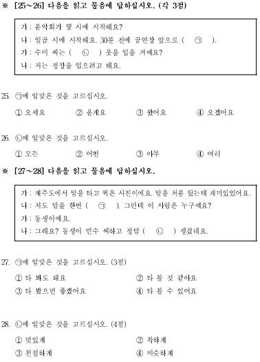 TOPIK初級檢定試題構成25-28