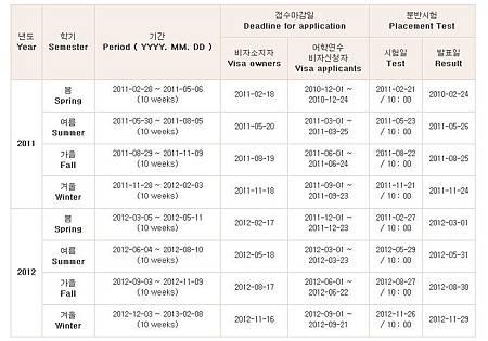 釜山大學韓文課程表